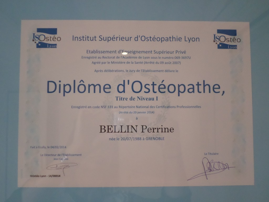 Diplôme d'ostéopathe
